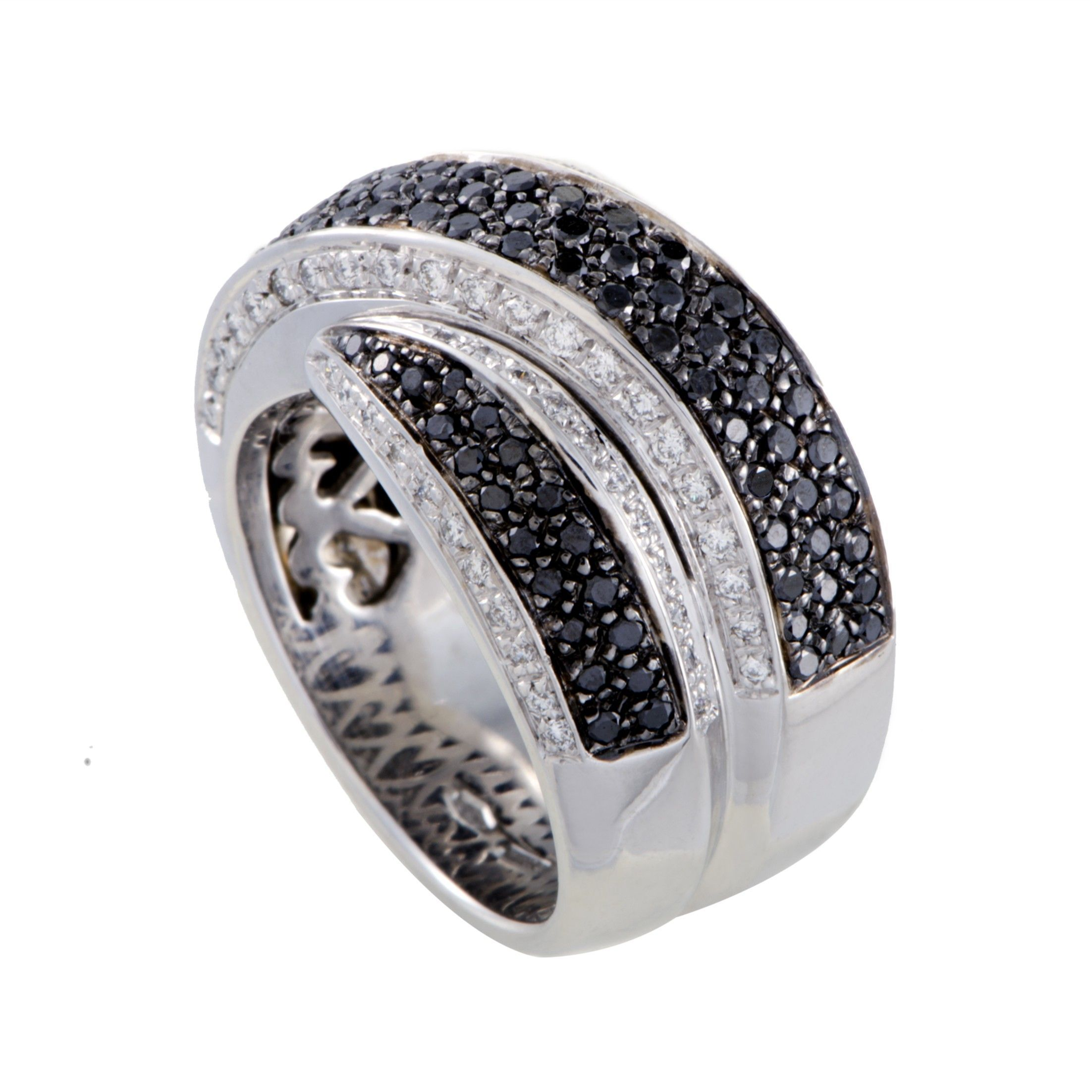 3bf60d15713a ... Leo Pizzo 18K White Gold White and Black Diamond Cross-over Wide Band  Ring ...