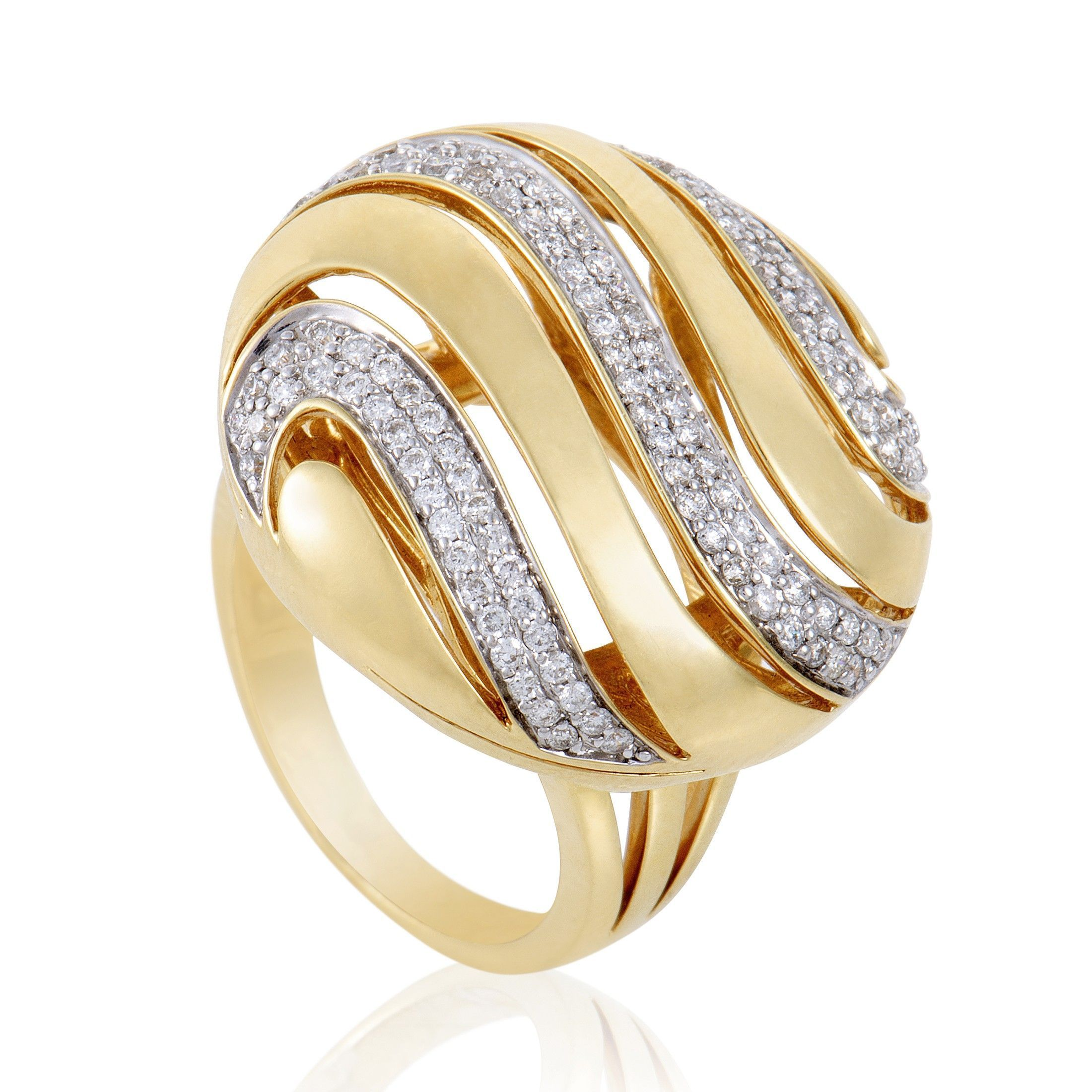 Womens 18K Yellow Gold Diamond Pave Cocktail Ring