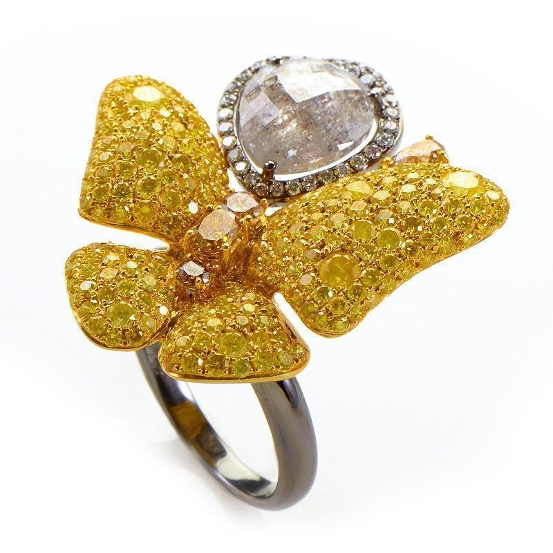 18K White and Yellow Gold Butterfly Ring