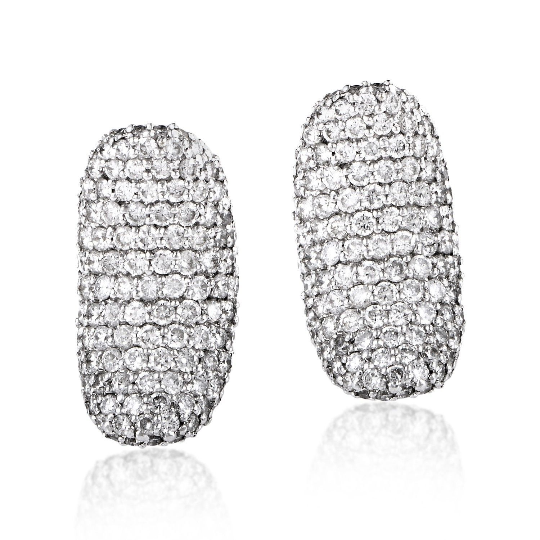51cc84c889fed Women's 18K White Gold Diamond Pave Huggie Earrings CED8946