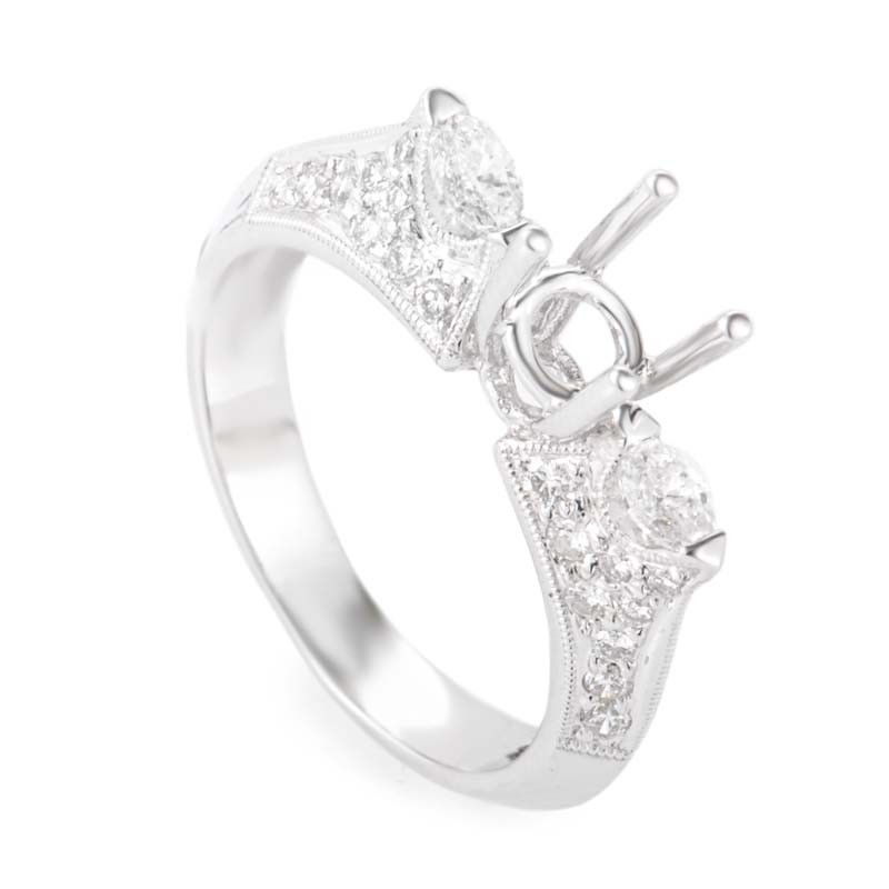 Angled 18K White Gold Diamond Pave Mounting Ring MFC08-062913