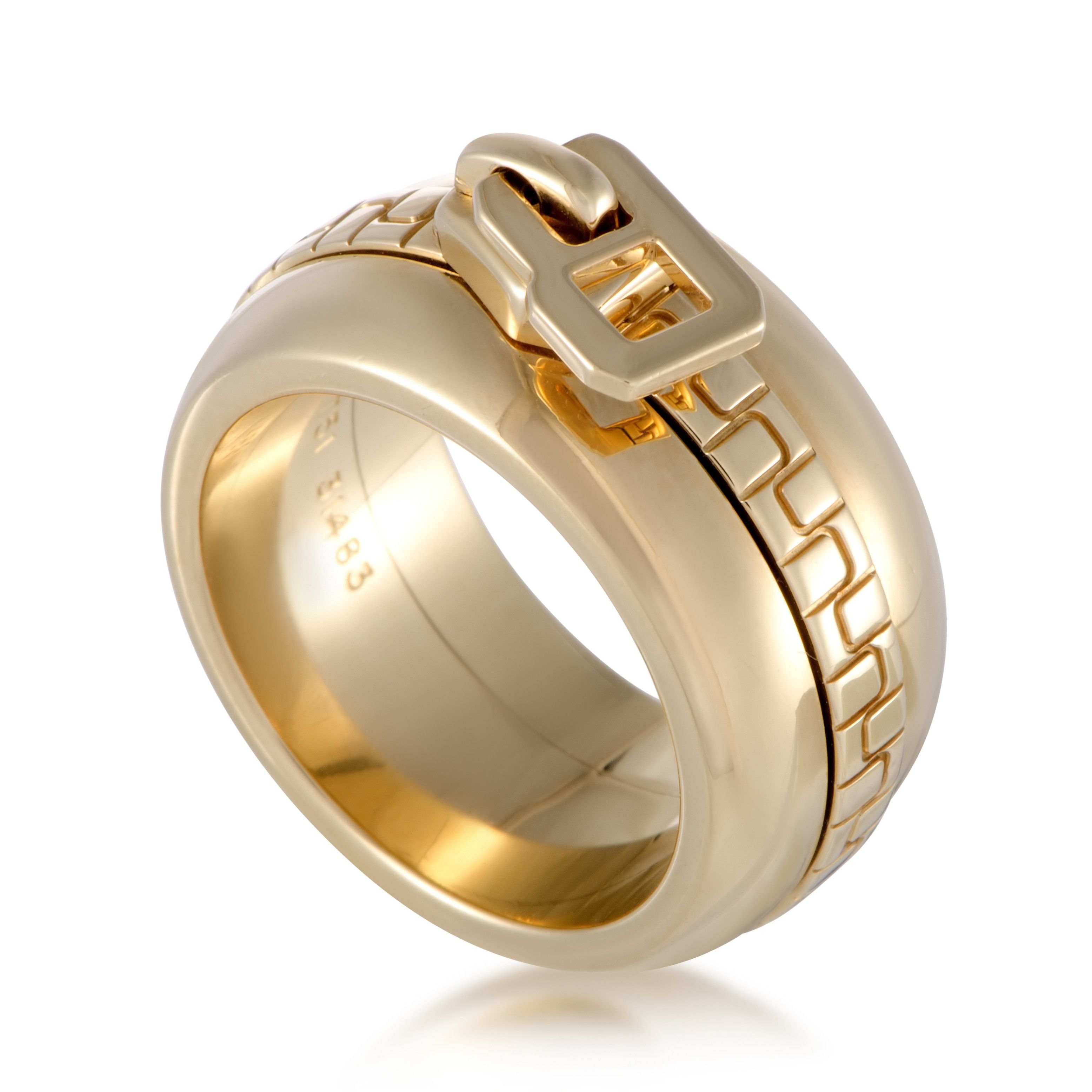 784871581182af Boucheron 18K Yellow Gold Zipper Band Ring | Luxury Bazaar |  www.luxurybazaar.com