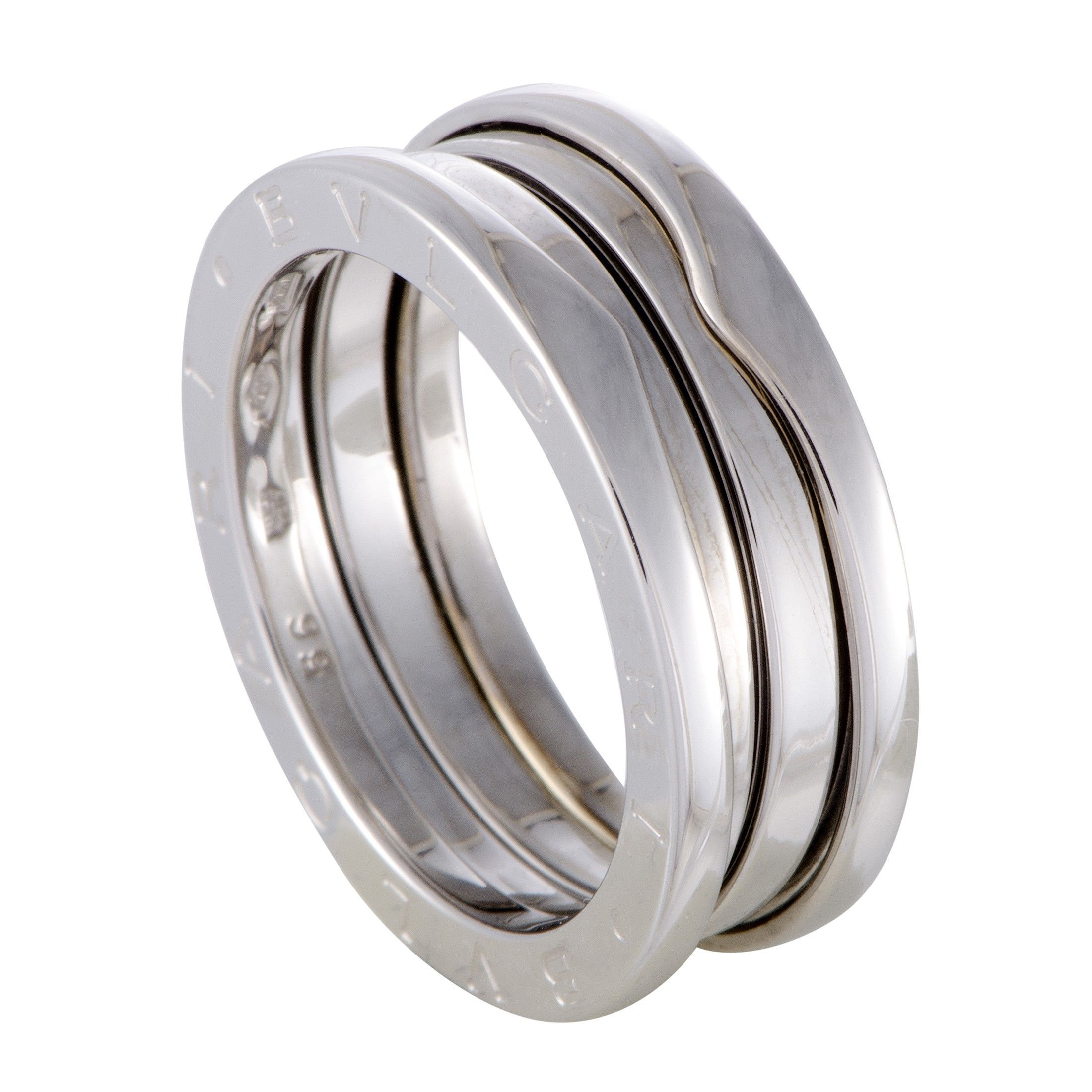 f3de56fbbbc493 B.Zero1 Womens 18K White Gold 2-Band Ring | Luxury Bazaar |  www.luxurybazaar.com