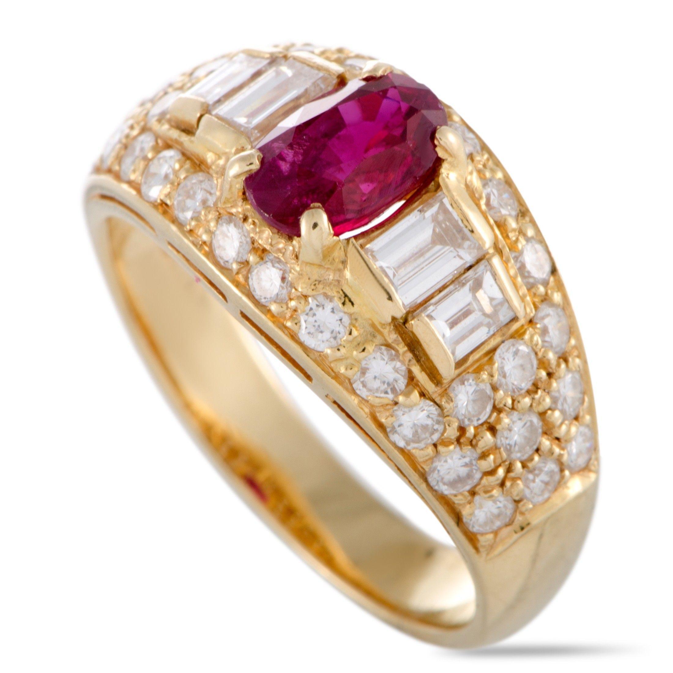 Bvlgari 18k Yellow Gold Diamond And Ruby Band Ring Luxury Bazaar