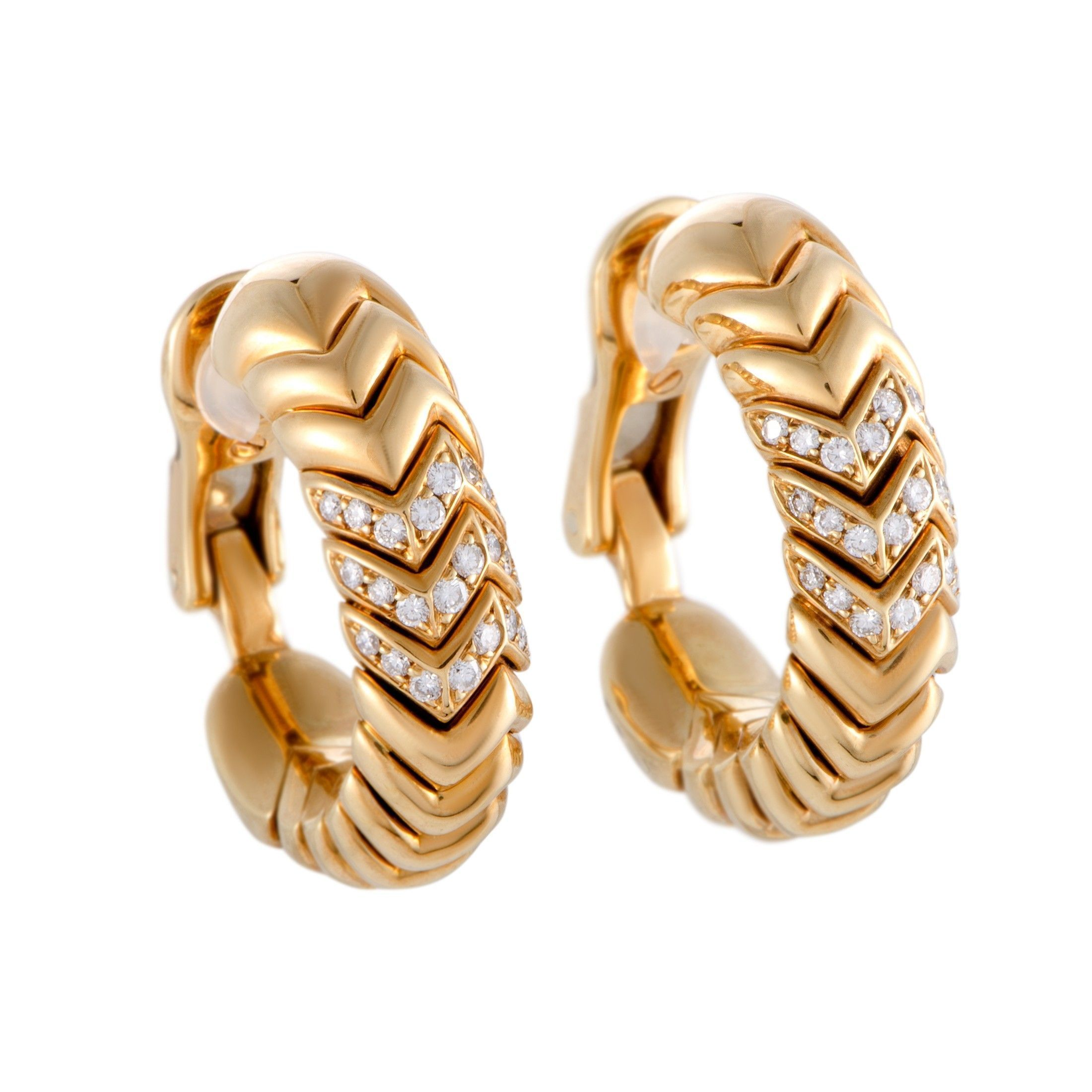 764ac8937 Bvlgari Spiga 18K Yellow Gold Diamond Pave Hoop Clip-on Earrings | Luxury  Bazaar | www.luxurybazaar.com