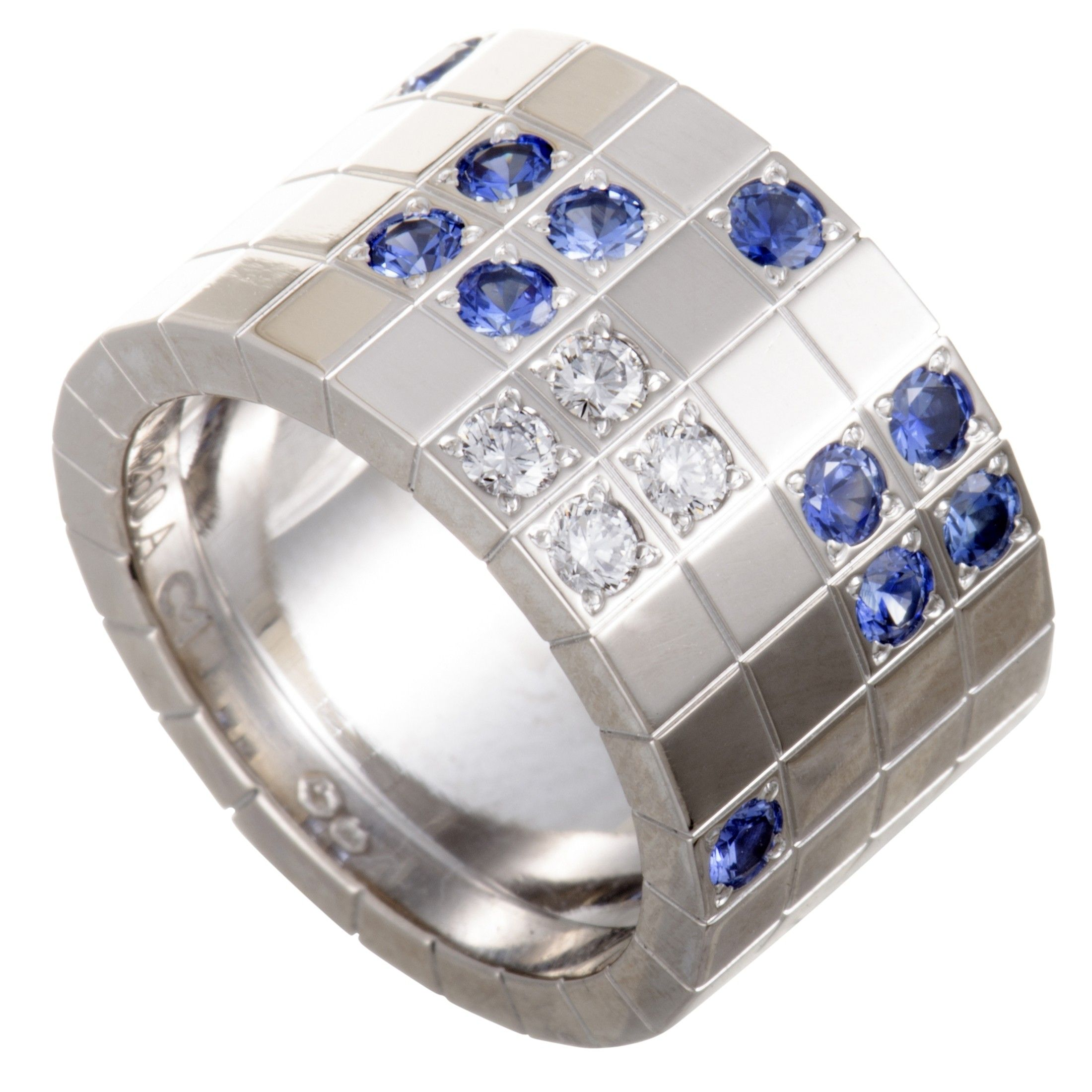 b4fd44c1a8dbb Cartier Lanieres 18K White Gold Diamond and Sapphire Wide Band Ring