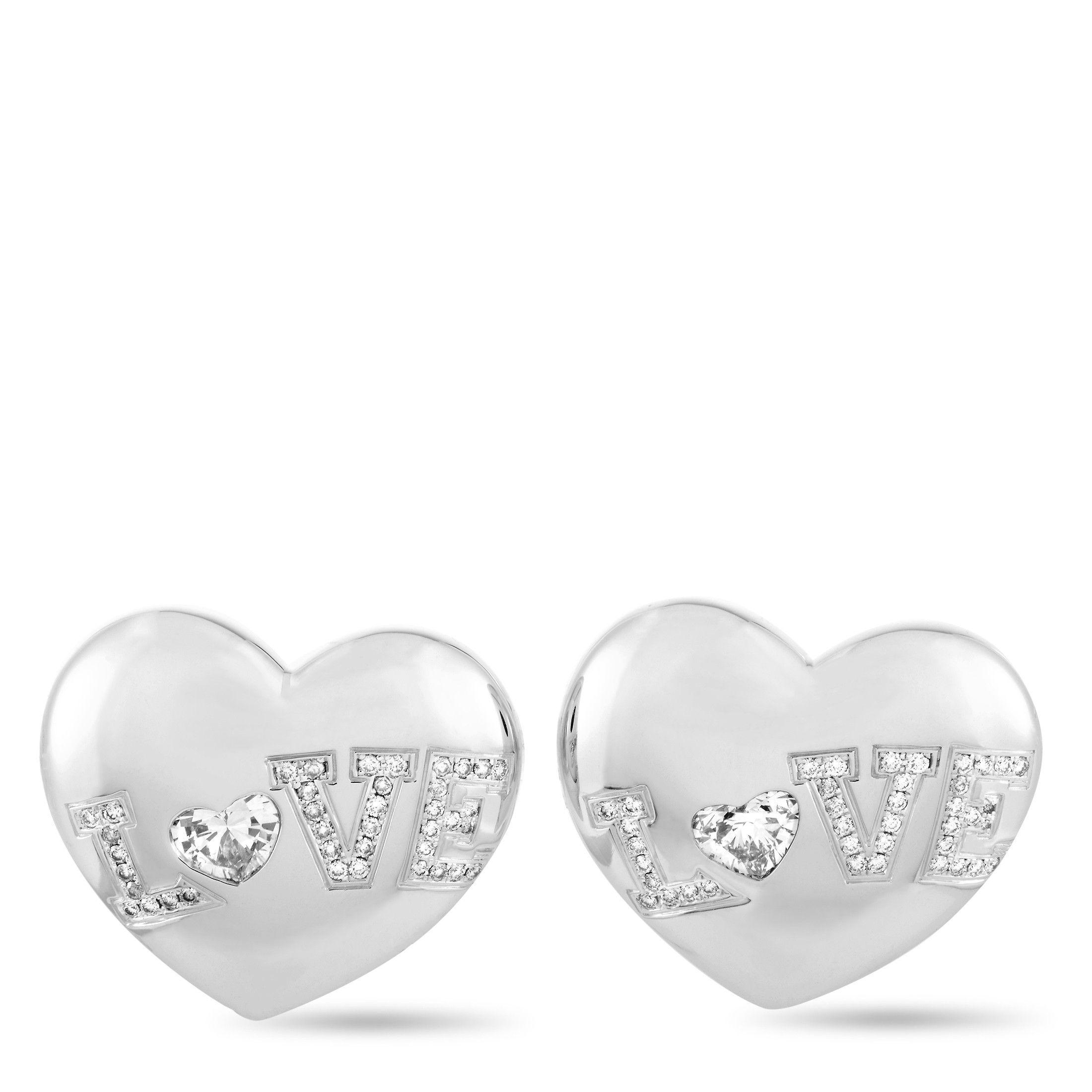 Chopard 18k White Gold Diamond Heart Earrings Luxury Bazaar Www Luxurybazaar Com