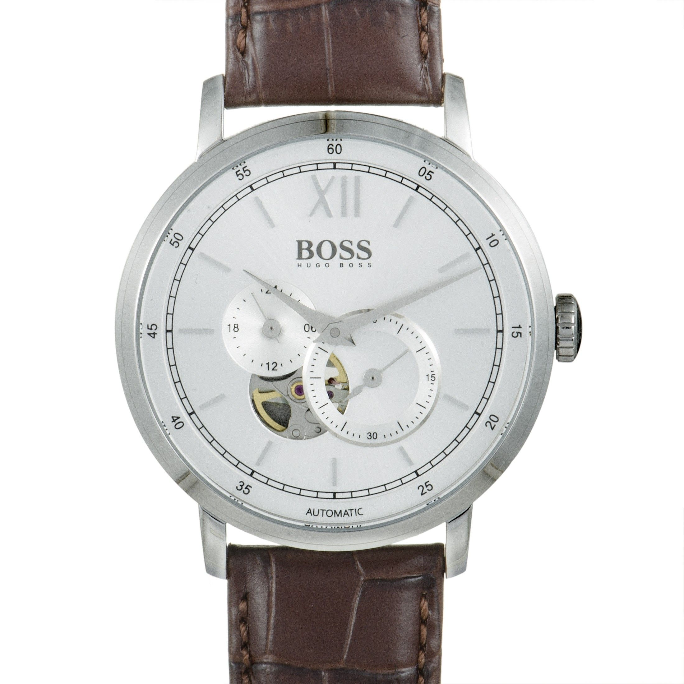 Hugo Boss Signature Men S Silver Visible Movement Watch Brown Leather Band 1513505