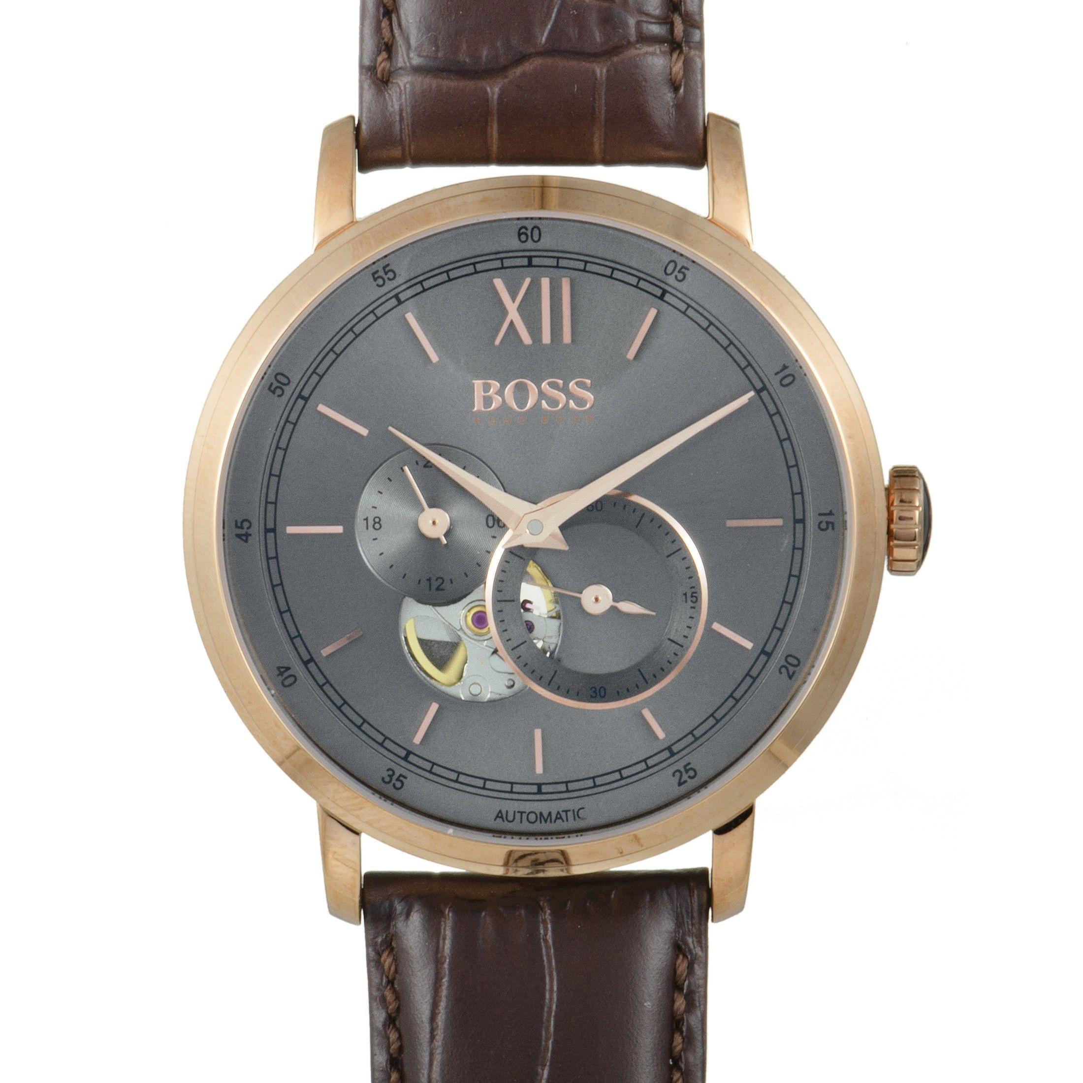 Hugo Boss Signature Men S Rose Gold Plated Visible Movement Watch Brown Leather Band 1513506