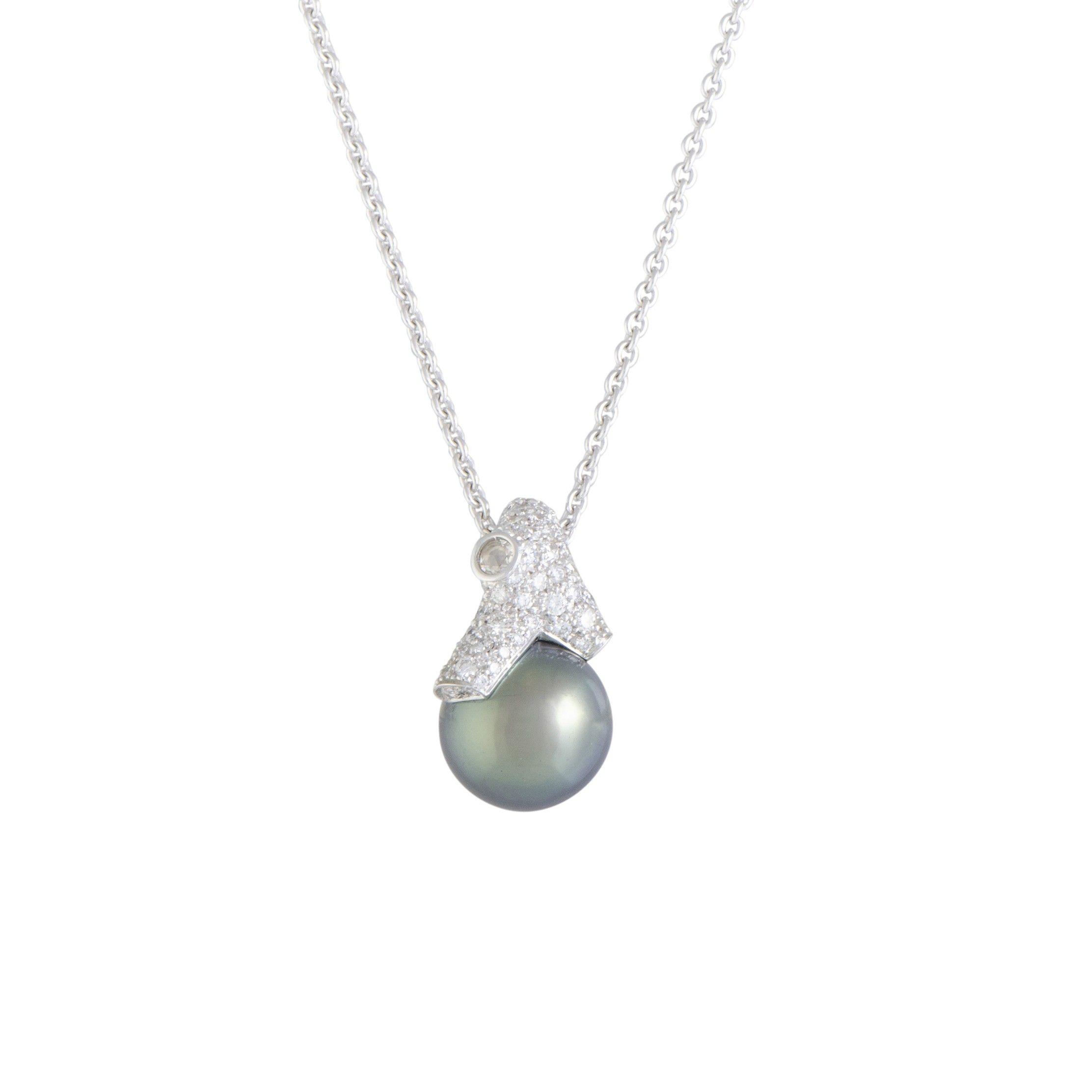 cfff94666888b Mikimoto 18K White Gold Diamond and 12.0-13.0mm Black Pearl Pendant Necklace