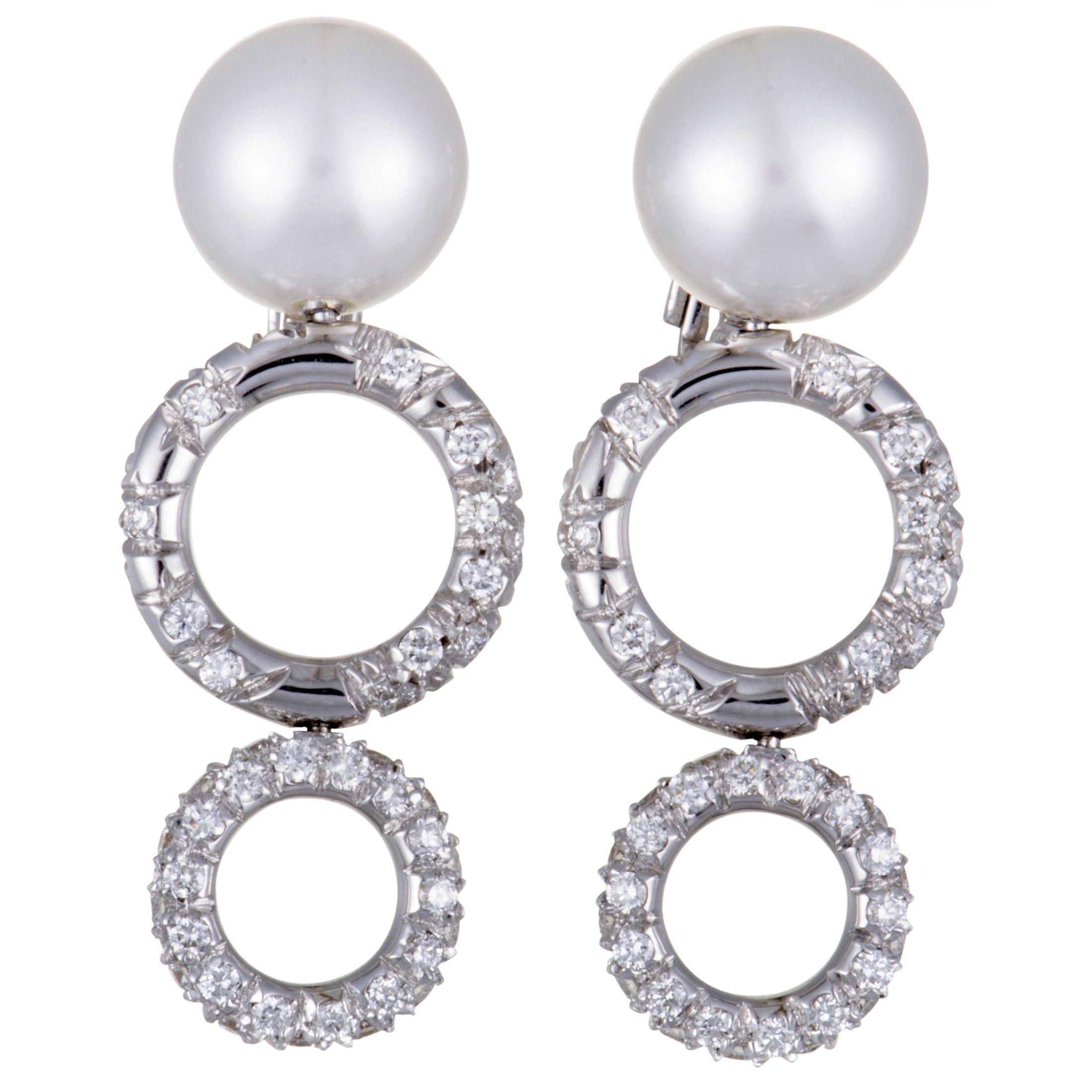Mikimoto 18k White Gold Diamond And 10 0 11 0mm Pearl Dangle Earrings