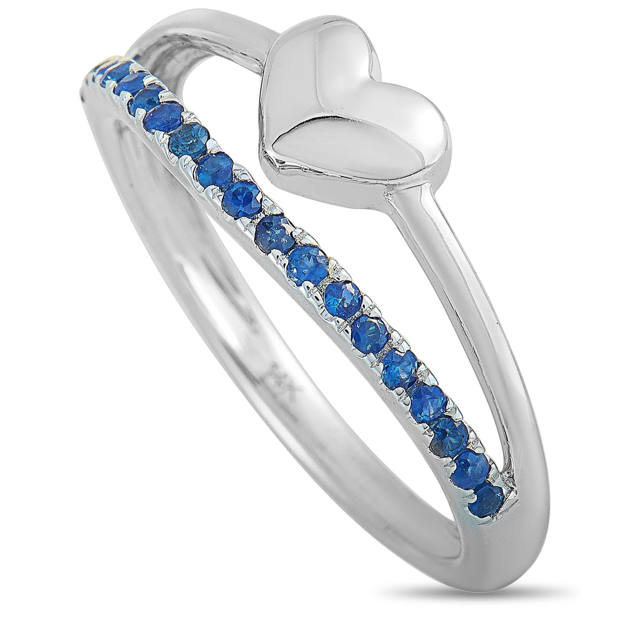 14K White Gold Sapphire Heart Ring