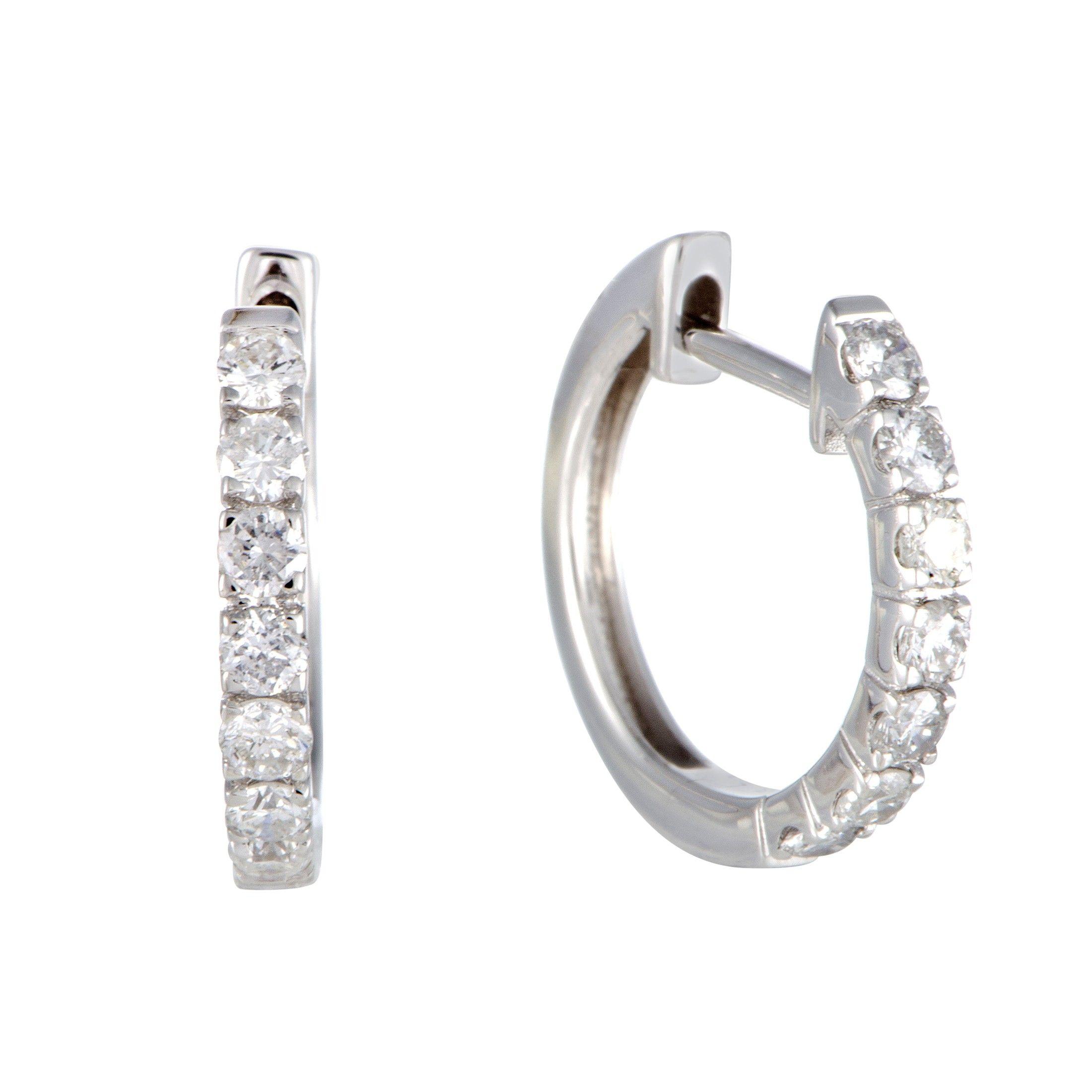 75ct Small 14k White Gold Diamond Hoop Earrings