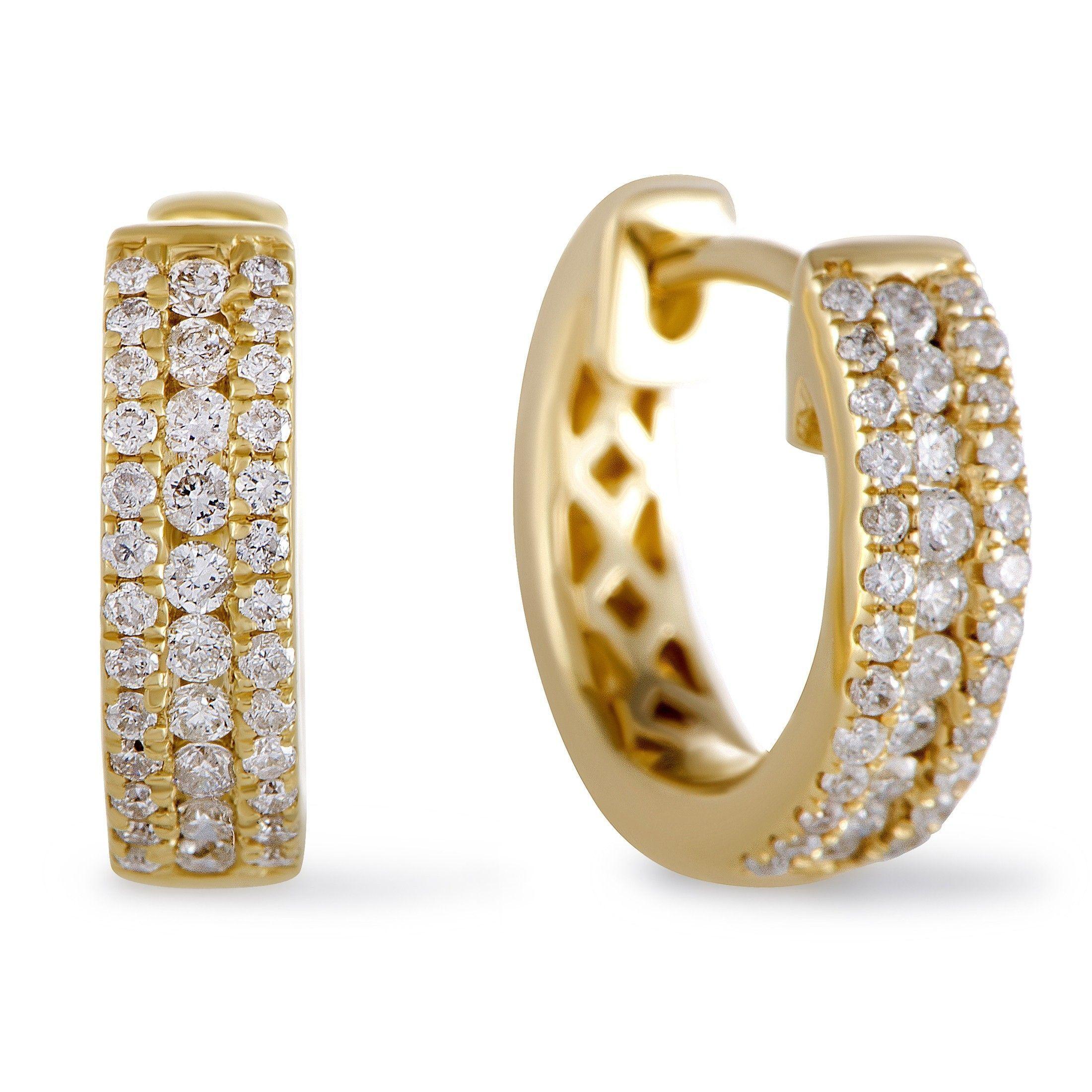 fc140c2fb ~.35ct Small 14K Yellow Gold Diamond Hoop Earrings | Luxury Bazaar |  www.luxurybazaar.com