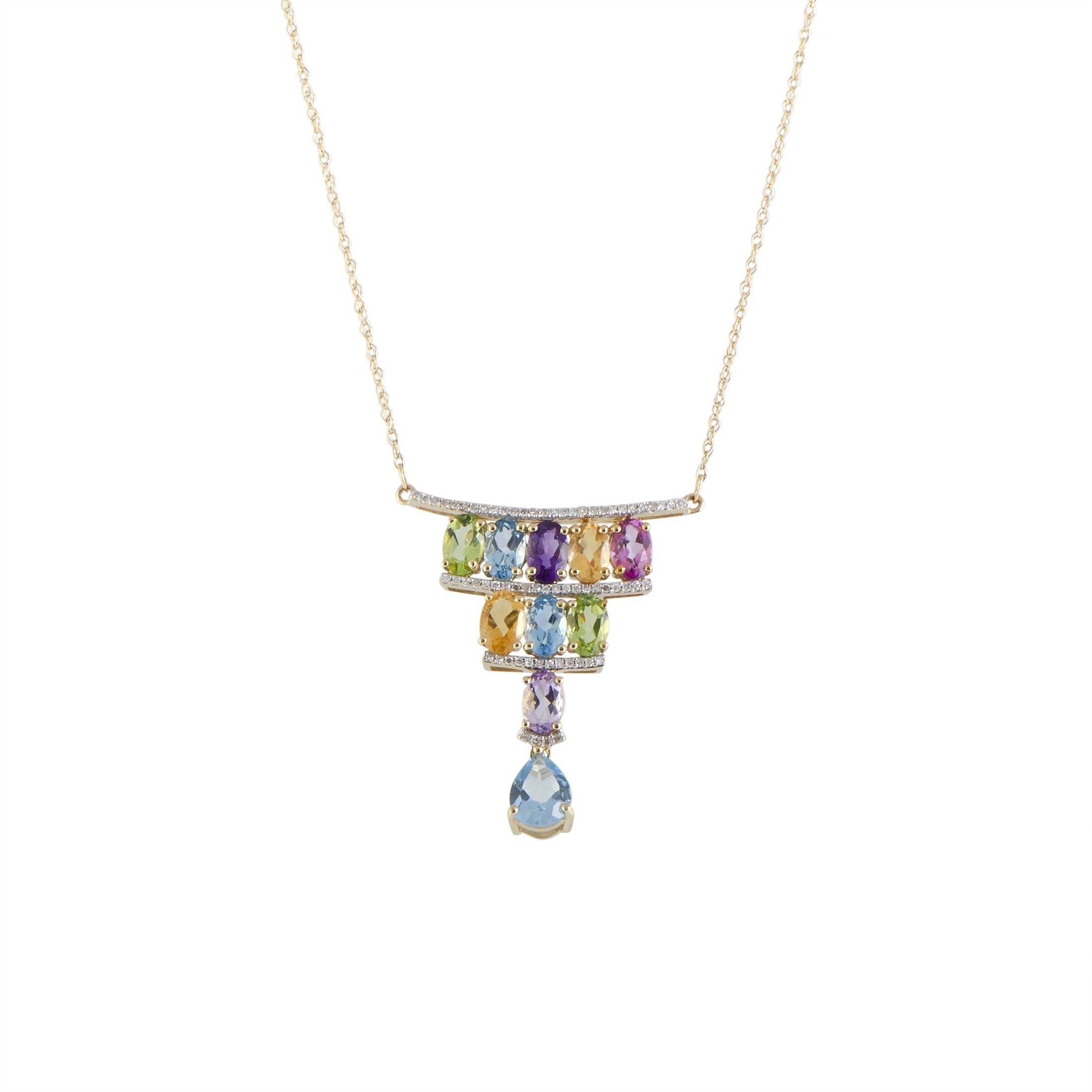 fca5f9ba1f30e 14K Yellow Gold Diamond and Multiple Gemstones Triangle Pendant Necklace