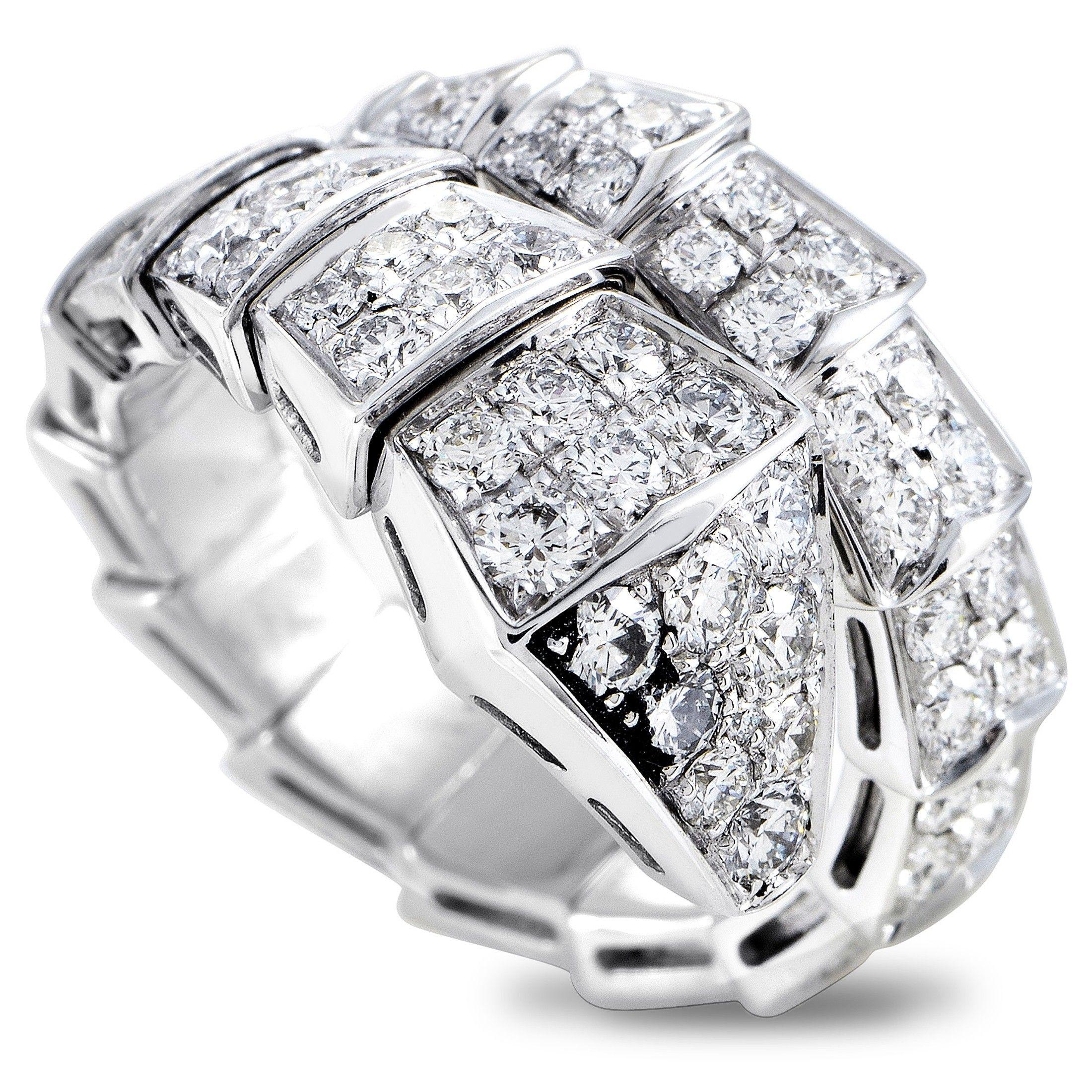 5838fd3c252d3 Bvlgari Serpenti 18K White Gold Full Diamond Pave Snake Ring Size Large