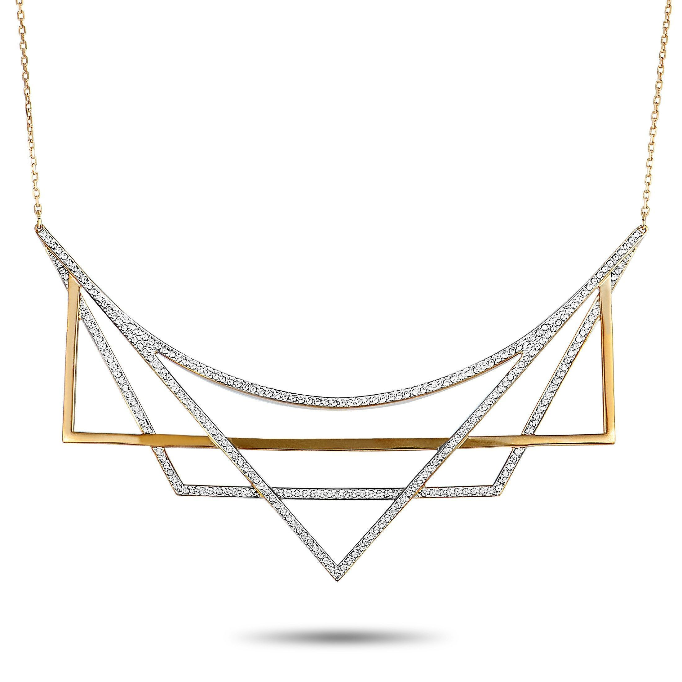 355816d30222d Swarovski Geometry White and Rose Gold Plated Crystal Necklace