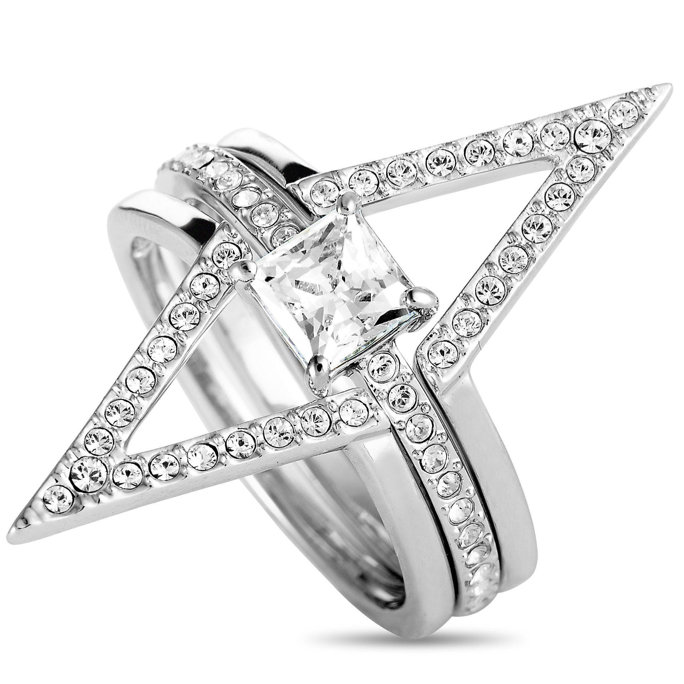 dcd0bfa57fa70 Swarovski Funk Rhodium- Plated Crystal Three Ring Set