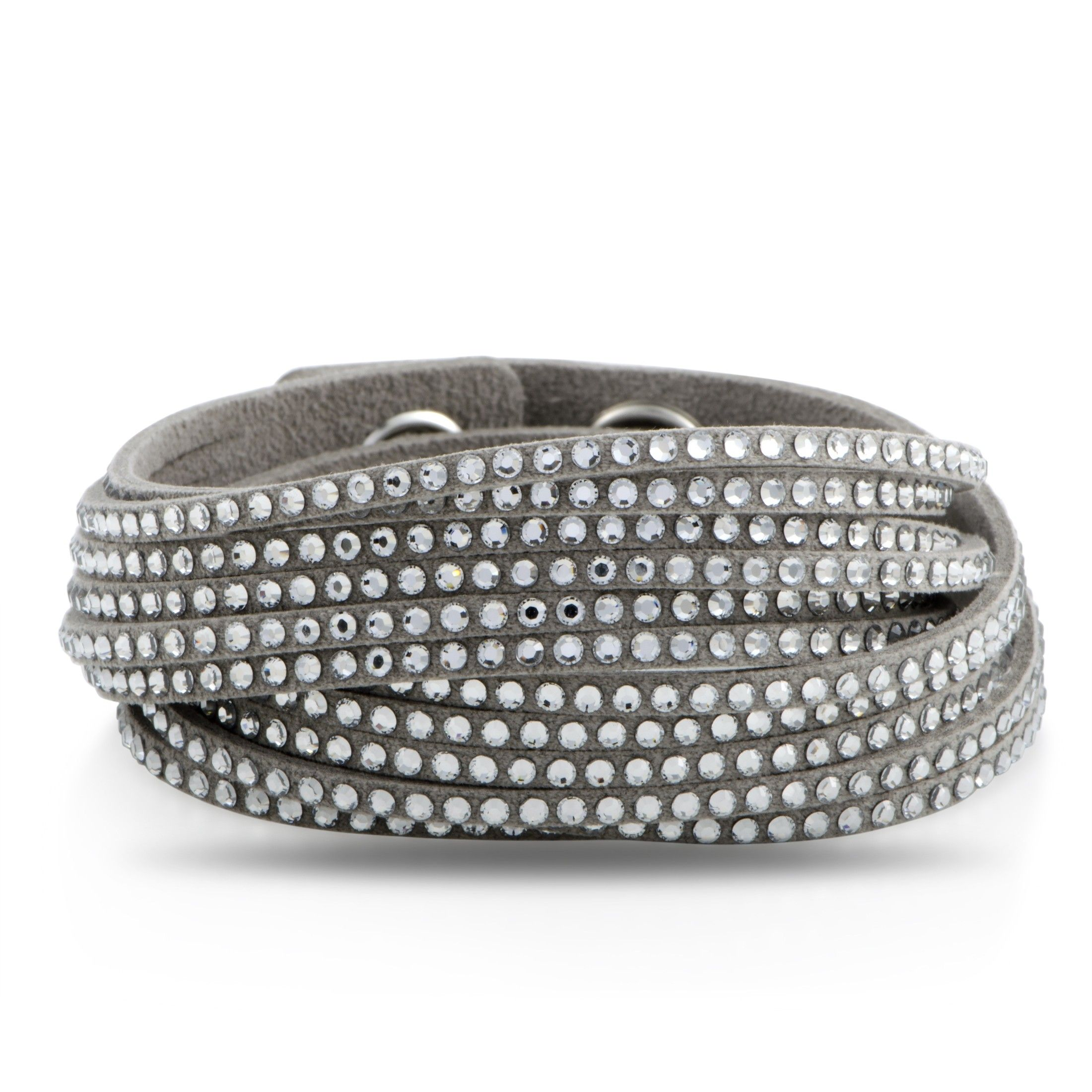 Swarovski Slake Grey 2 In 1 Suede Wrap Bracelet 5181989 M Medium