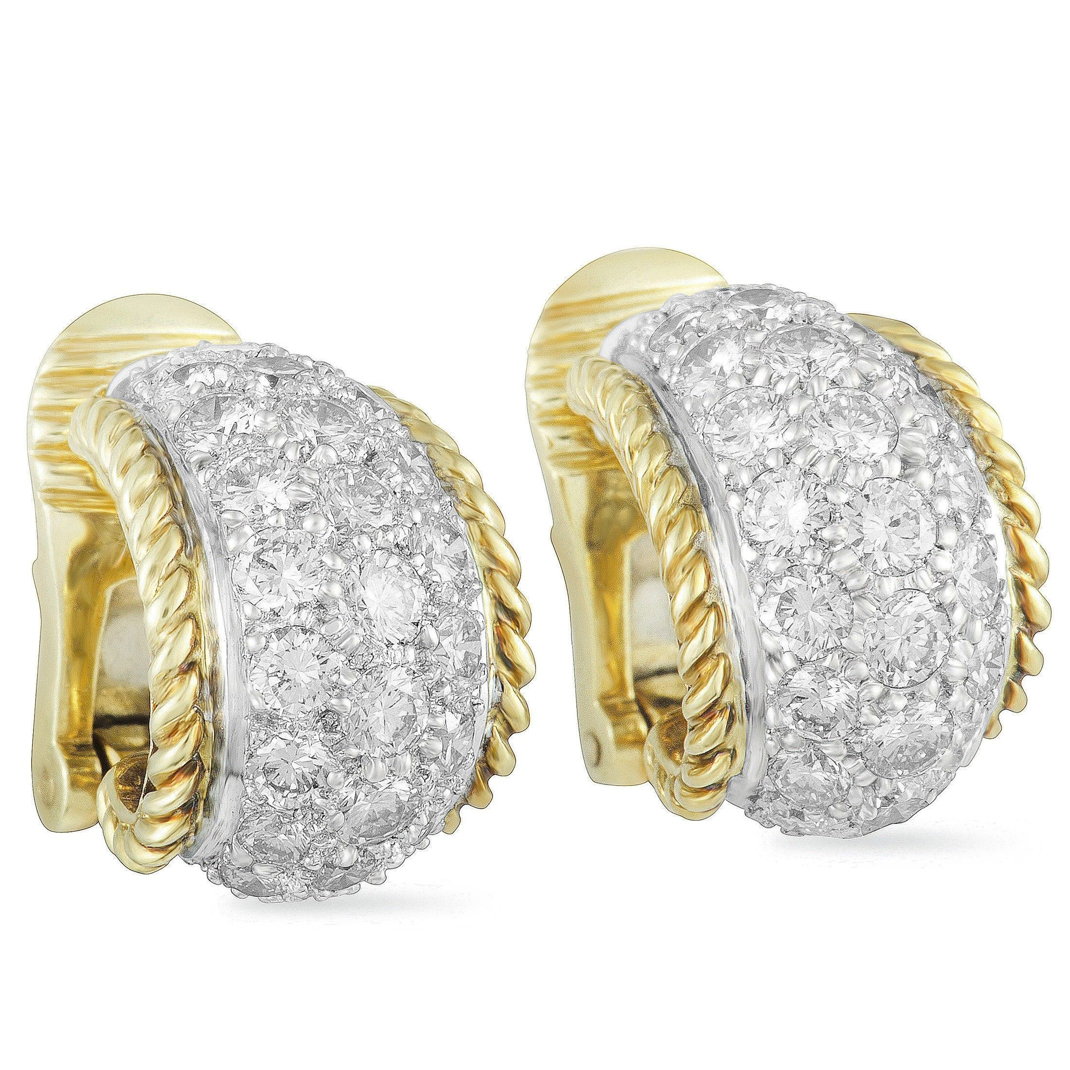 c4c1f02d5 ... Tiffany & Co. Platinum and 18K Yellow Gold Full Diamond Pave Small Hoop  Clip- ...