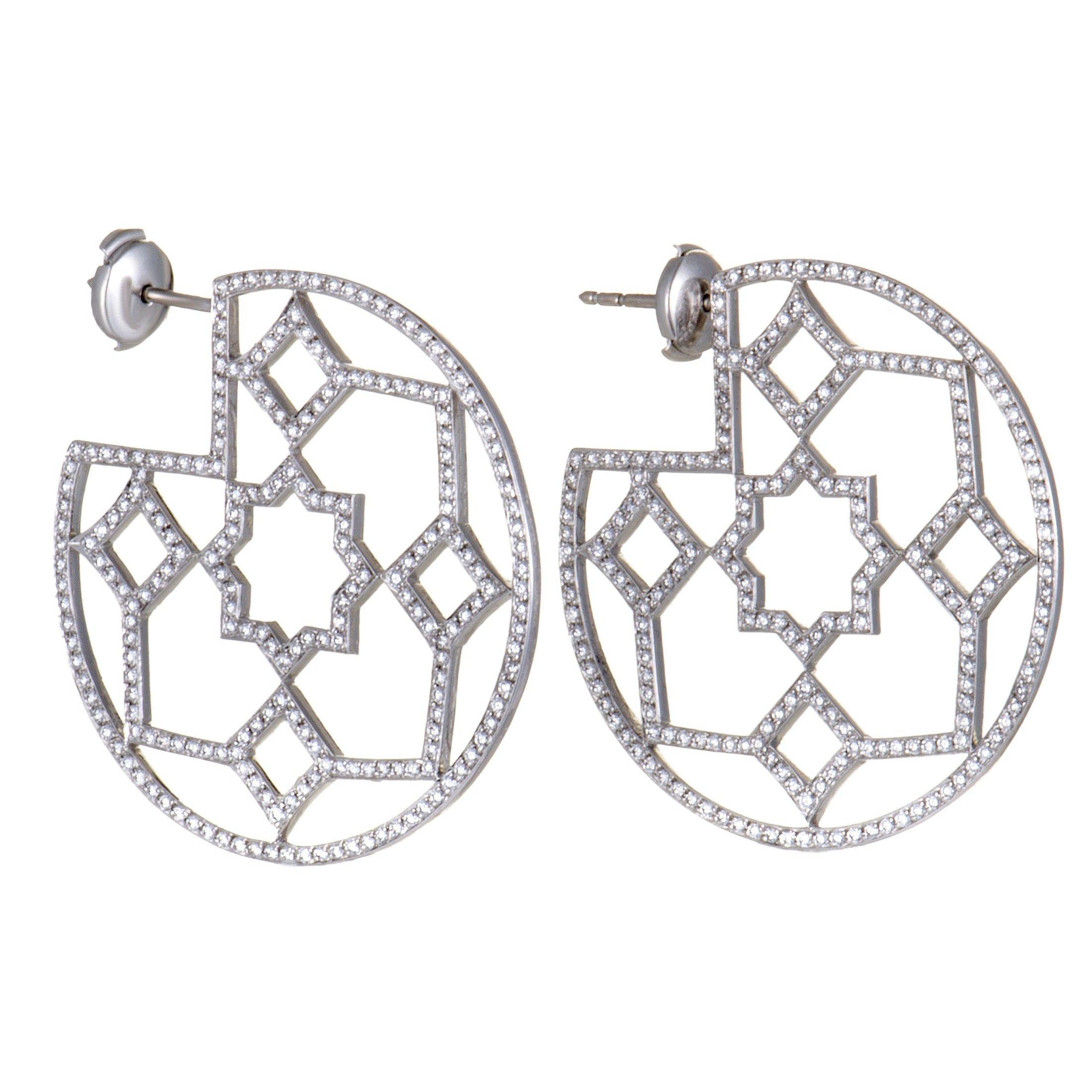 46574e9d0 Tiffany & Co. Paloma Picasso Marrakesh Platinum Diamond Pave Hoop Earrings  | Luxury Bazaar | www.luxurybazaar.com