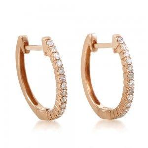 14K Rose Gold Diamond Small Hoop Earrings AER-10707R