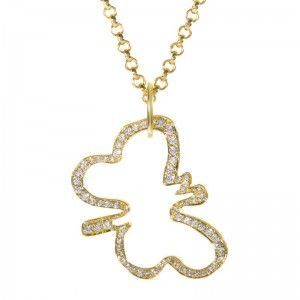 Robert Lee Morris Yellow Gold & Diamond Butterfly Pendant Necklace