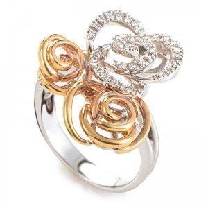 Damiani Bocciolo 18K White & Rose Gold Diamond Flower Ring