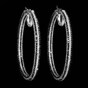 18K White Gold Black & White Diamond Pave Hoop Earrings SEK88551BZ