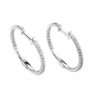 14K White Gold Diamond Hoop Earrings AER-9832W