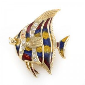 18K Yellow Gold & Diamond Tropical Fish Pin EN978D
