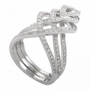 Damiani Vittoriana 18K White Gold Woven Diamond Band Ring