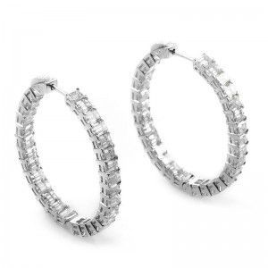 ~10.97ct Platinum and Diamond Hoop Earrings