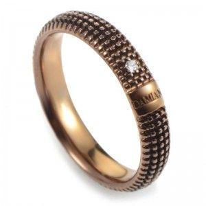 Damiani Metropolitan 18K Rose Gold/Brown Rhodium 1 Diamond Textured Band Ring 20031940