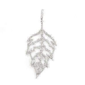 Cathy Waterman 18K White Gold Diamond Leaf Pendant