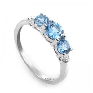 14K White Gold Diamond and Topaz Band Ring