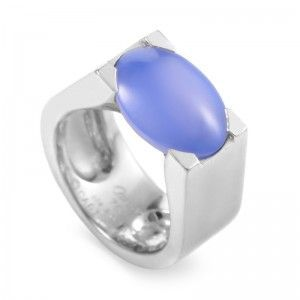Cartier 18K White Gold Chalcedony Ring