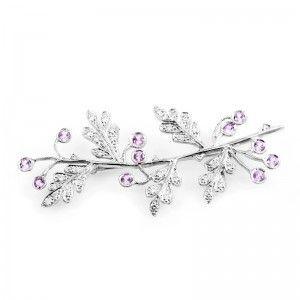 Cathy Waterman Platinum Diamond and Pink Sapphire Branch Brooch