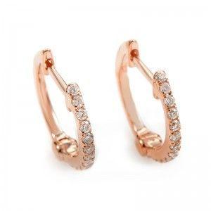14K Rose Gold Diamond Hoop Earrings AER-9834R
