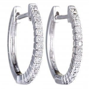 14K White Gold Diamond Hoop Huggies Earrings .27 Carat (0.27 ctw) Diamonds