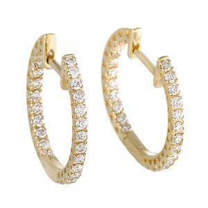 14K Yellow Gold Diamond Hoop Huggies Earrings 0.66 Carat (0.66 ctw) Diamonds Inside & Out