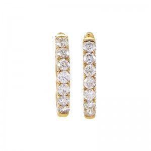 14K Yellow Gold Diamond Small Hoop Earrings AER-4846Y
