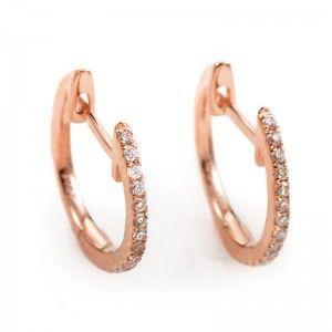 14K Rose Gold Diamond Hoop Earrings AER-5783R