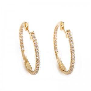 14K Yellow Gold Diamond Hoop Earrings AER-7555Y