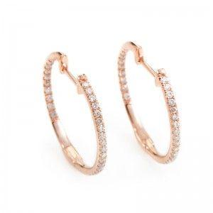 14K Rose Gold Diamond Hoop Earrings AER-7555R