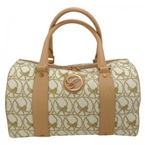 Chopard Milano Beige Cloth & Camel-Colored Leather Handbag 95000-0327