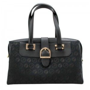 Chopard Medium Cloth & Black Grained Leather Handbag 95000-0411