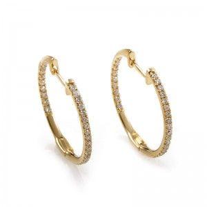 14K Yellow Gold Diamond Hoop Earrings AER-9832Y