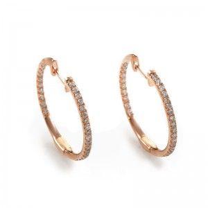 14K Rose Gold Diamond Hoop Earrings AER-9832R