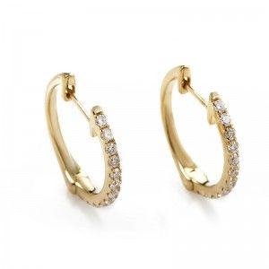 14K Yellow Gold Diamond Hoop Earrings AER-9847Y